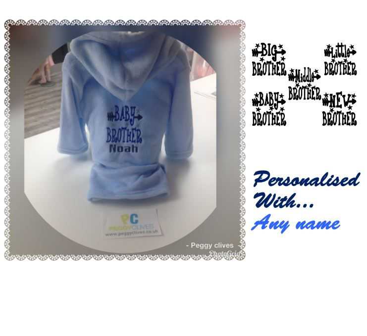 Personalised Big Little Middle Baby Brother Boys Dressing Gown With